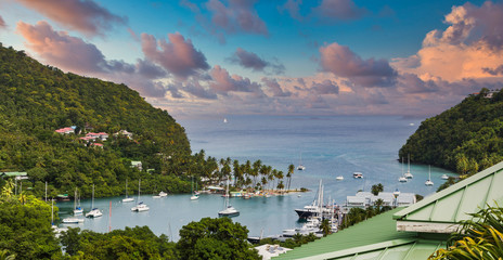 View of Marigot Bay from hilltop in St Lucia Wall mural