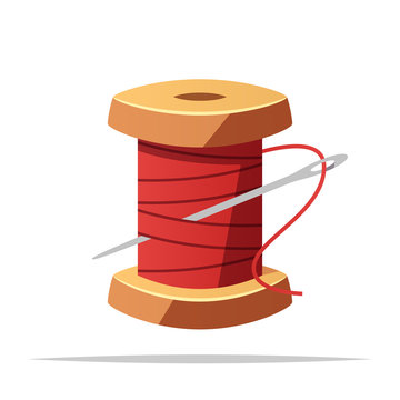 Spool of thread and sewing needle vector isolated illustration