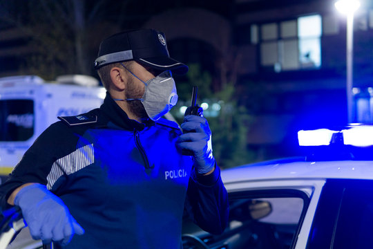 coronavirus. Police using protection methods to avoid contagion by coronavirus