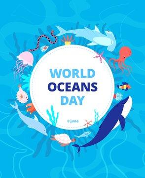 Oceans day. Clean sea, earth water. World ocean celebration background. Wild animals, shark dolphin. Environment ecosystem vector banner. Global aqua habitat, help fish and sea animals illustration