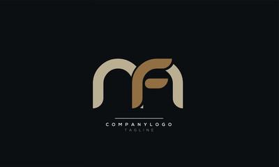 MF FM M F Letter logo alphabet monogram initial based icon design