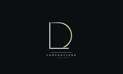 Fototapeta LD DL L D alphabet abstract initial letter logo design vector template obraz