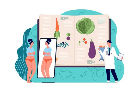 Diet concept. Weight loss with doctor, medical nutrition. Obesity depression, sad overweight woman. Healthy lifestyle vector illustration. Loss weight and diet for healthy, food dieting recommend,