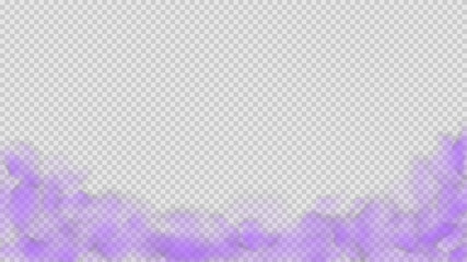 Purple smoke isolated on transparent background. Bright vector cloudiness, mist or smog background. Steam special effect. Realistic colorful fog or mist texture. Vector illustration of purple smoke.