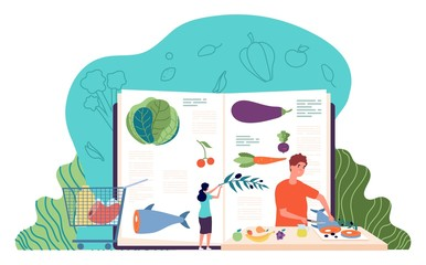 Recipe book. Man cooking healthy food. Culinary concept with tiny people and ingredients. Restaurant, cafe or home kitchen workshop vector illustration. Man preparation food, eco natural dish