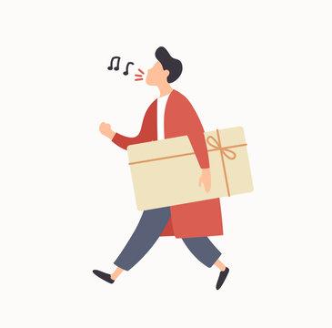 Cheerful cartoon guy carrying gift box with ribbon enjoying sale vector flat illustration