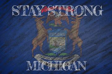 Michigan ,flag illustration. Coronavirus danger area, quarantined country. Stay strong.