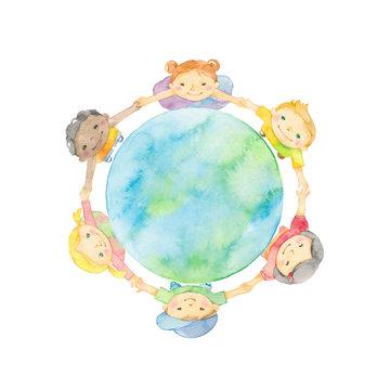 手を繋ぐ子どもたちと地球