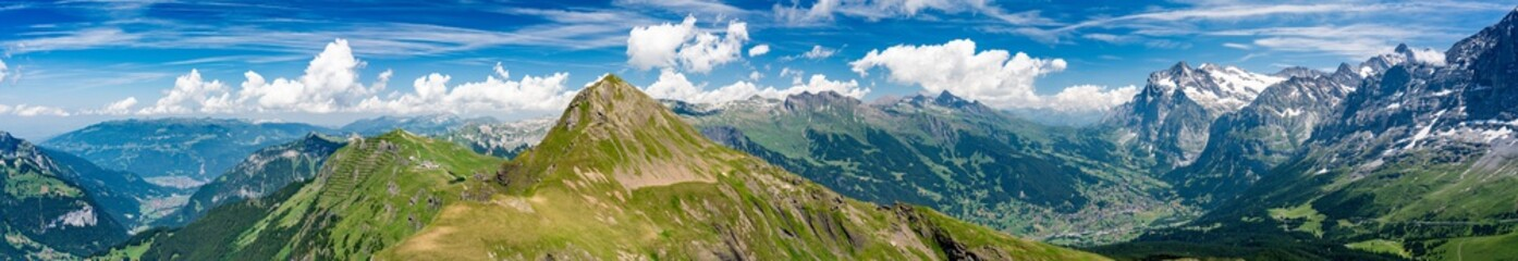 Switzerland, Panoramic view on Grindelwald valley and Wetterhorn and green Alps around