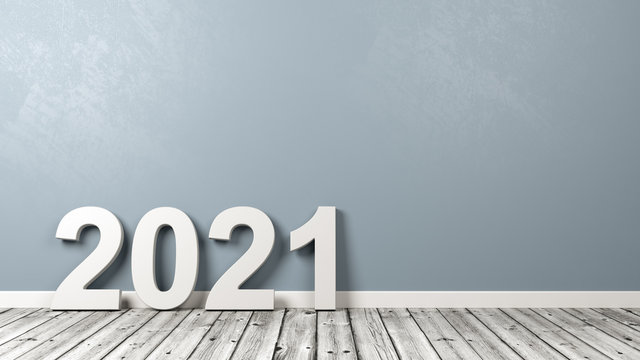 2021 Number Text on Wooden Floor Against Wall