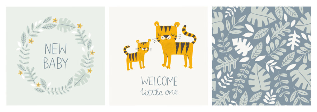 Set of cute baby shower cards and jungle pattern with tiger mom and baby, tropical leaves, wreath and hand lettered phrases - new baby, welcome little one. For invitations, greeting cards, posters