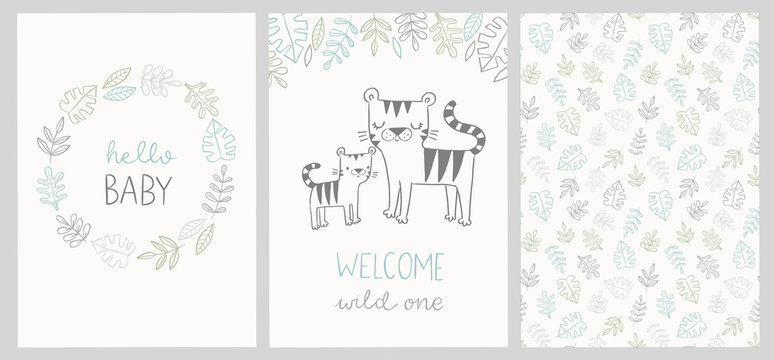 Set of cute baby shower cards and jungle pattern with tiger, tropical leaves, wreath and hand lettered phrases - hello baby, welcome wild one. For invitations, greeting cards, posters