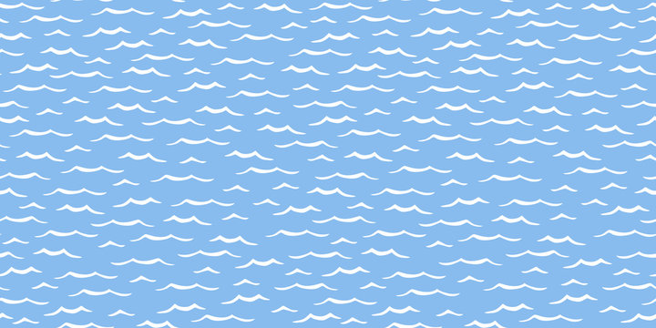 Ocean waves seamless repeat pattern white on blue background for fabric surface design