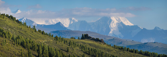 Wall Mural - Belukha Mountain is the highest point of Altay. Panoramic view of snow-capped peaks.