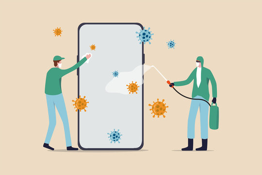 Coronavirus prevention clean your phone, sanitize smartphone and disinfect COVID-19 Coronavirus concept, medical and cleaning service worker with full protective gear sanitize and disinfect cellphone.