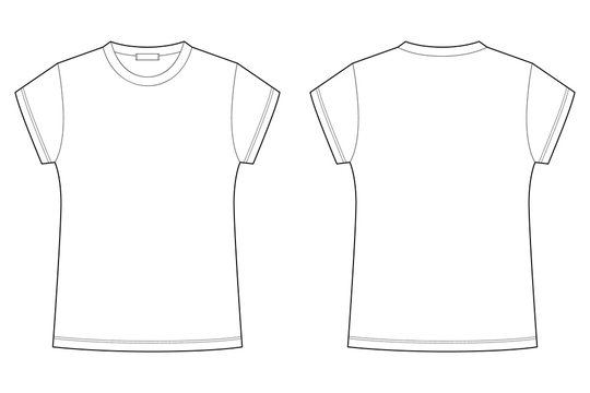 Childrens t-shirt blank template vector illustration isolated on white background. Technical sketch tee shirt.