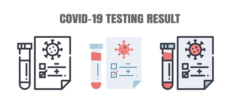 Testing Result of Covid-19 Patients is Negative or Positve. The Coronavirus Disease 2019 Infection Treatments. Line outline, Flat, Filled Icons Set. Editable Stroke.