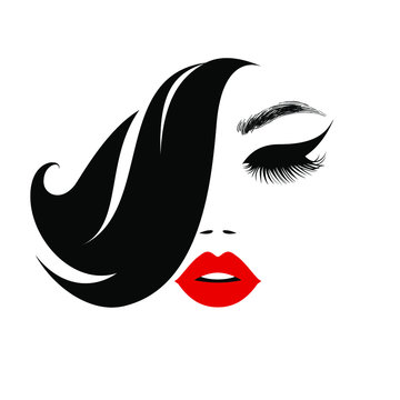 Beauty logo, beautiful woman face, sexy red lips, eyelash extensions, fashion woman, curly hairstyle, hair salon sign, icon. Wallpaper background. Vector illustration.