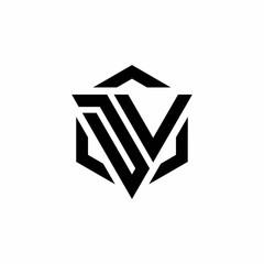 DV Logo monogram with triangle and hexagon modern design template