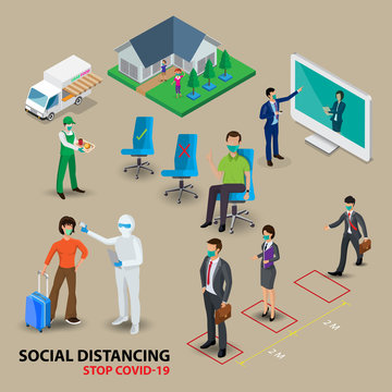 Isometric social distancing concept for preventing coronavirus covid-19 with people keeping a circular distance boundary ,vector illustration.