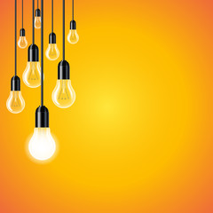 Wall Mural - Set of light bulb on yellow background. Concept of new ideas.