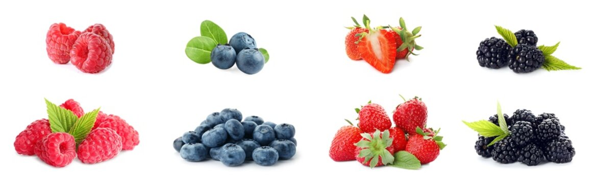 Set of different ripe berries on white background. Banner design