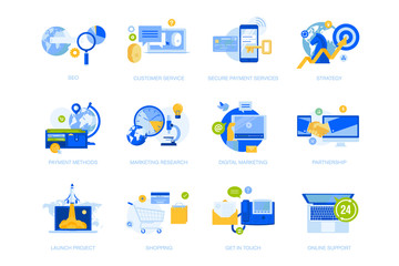 Wall Mural - Flat design icons collection. Vector illustrations for business strategy, communication and support, startup, online payment, shopping, seo, internet marketing. Icons for graphic and web design.