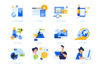 Flat design concept icons collection. Vector illustrations for app development, business solutions, analytics and investment, online store, testimonial, events. Icons for graphic and web designs.