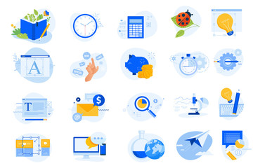 Wall Mural - Flat design icons collection. Vector illustrations for graphic design, data analysis, market research, project management, online communication, social media, email marketing, shopping, savings.
