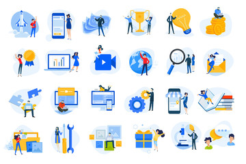 Flat design concept icons collection. Vector illustrations for startup, graphic and web design and development, app, finance, social media, business, marketing, m-commerce, education.  Fotomurales
