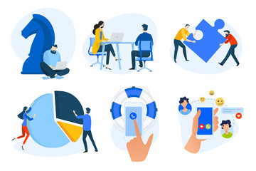 Wall Mural - Flat design concept icons collection. Vector illustrations of business strategy, analysis and solutions, teamwork, human resources, social network, online support. Icons for graphic and web designs, m