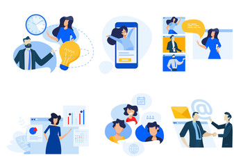 Wall Mural - Flat design concept icons collection. Vector illustrations of conference call, social media, video streaming, business apps, time and project management. Icons for graphic and web designs.