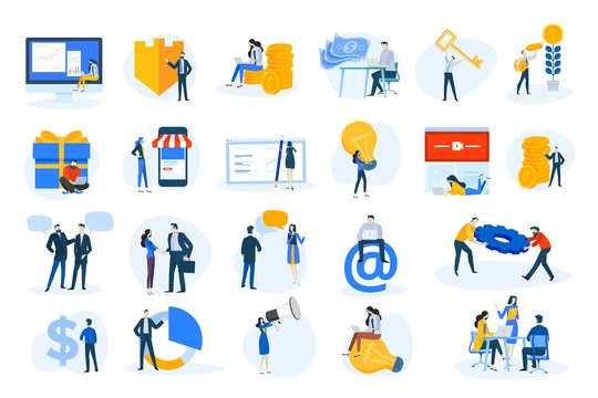 Flat design concept icons collection. Vector illustrations of business and finance, marketing, m-commerce, social media, communication. Icons for graphic and web designs, marketing material and busine
