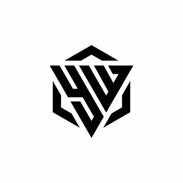 YW Logo monogram with triangle and hexagon modern design template