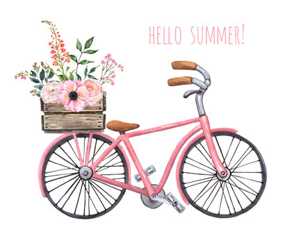 Watercolor pink vintage style bicycle with wooden box and flower bouquet. Cute city bike with floral basket illustration, isolated on white background. Hand drawn summer travel theme