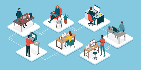 Teleworking and business teamwork Wall mural