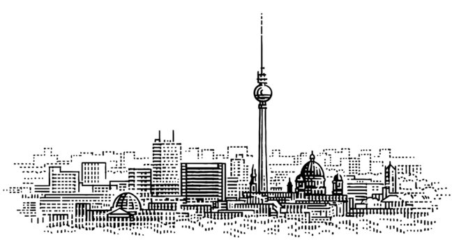 Berlin cityscape engraving style illustration. Modern city drawing. Vector.