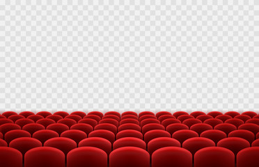 Cinema or movie seats isolated on transparent background. Vector rows of realistic red theater chairs. Empty hall, show stage template. Fotomurales