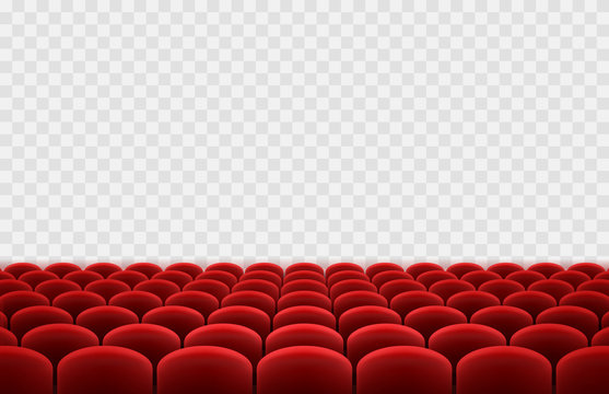Cinema or movie seats isolated on transparent background. Vector rows of realistic red theater chairs. Empty hall, show stage template.