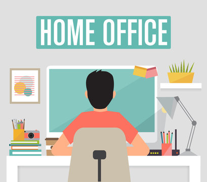 Work from home, home office concept, vector illustration