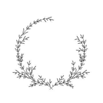 Hand drawn floral laurel wreath on white background