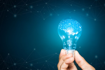 light bulb hold in hand on blue background, Brain with shining wireframe, Neural networks and artificial intelligence
