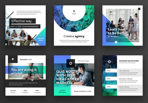 Social Media Post Layout Set with Green and Blue Gradient Overlays