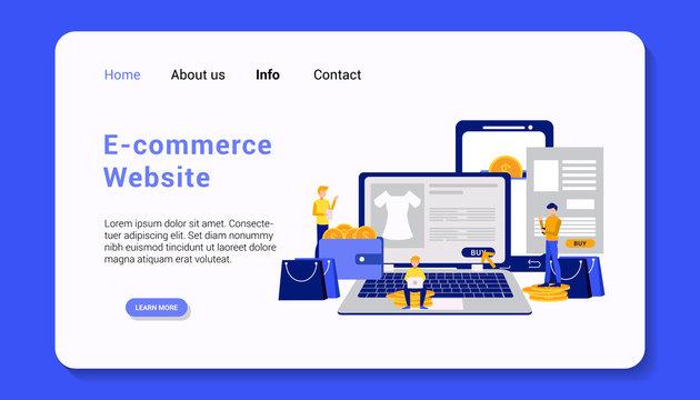 e-commerce website landing page template flat design vector illustration