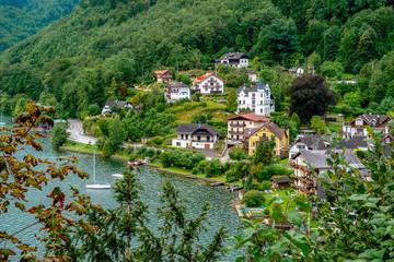 Traunkirchen, Upper Austria / Austria - August 2011: View of the Traunsee Lake seen from Traunkirchen