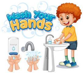 Garden Poster Kids Wash your hands poster design with boy washing hands