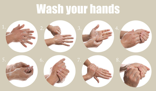 Steps of washing hands effectively. Collage with man on beige background, closeup