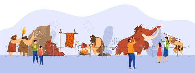 Museum of natural history, primitive people exposition, visitors cartoon characters, vector illustration. Prehistoric tribe and mammoth hunting scene exhibit. Stone age museum, savage barbarian human Wall mural