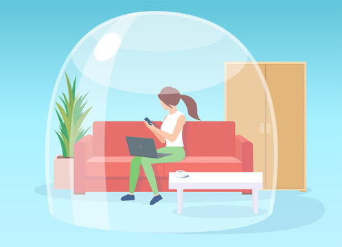 Vector of a woman staying at home working on laptop, self isolated during quarantine inside glass dome