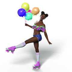 Roller Girl with Balloons (Transparent with Shadows)
